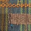 Diedrick Brackens. <em>Blue Under Night</em>, 2017. Woven cotton yarn, 78 x 31 inches & <em>Wading Still</em>, 2017. Woven cotton and nylon yarn, 40 x 29 1/2 inches. Detail thumbnail