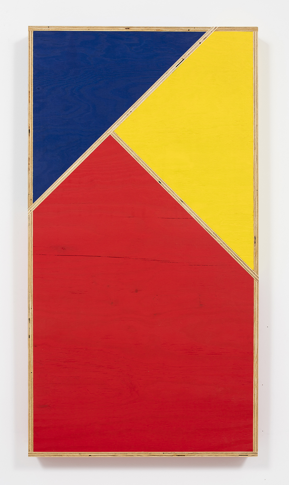 G.T. Pellizzi. <em>Transitional Geometry in Red, Yellow and Blue (Figure 34)</em>, 2016. Eggshell acrylic on plywood, 60 x 32 x 4 inches