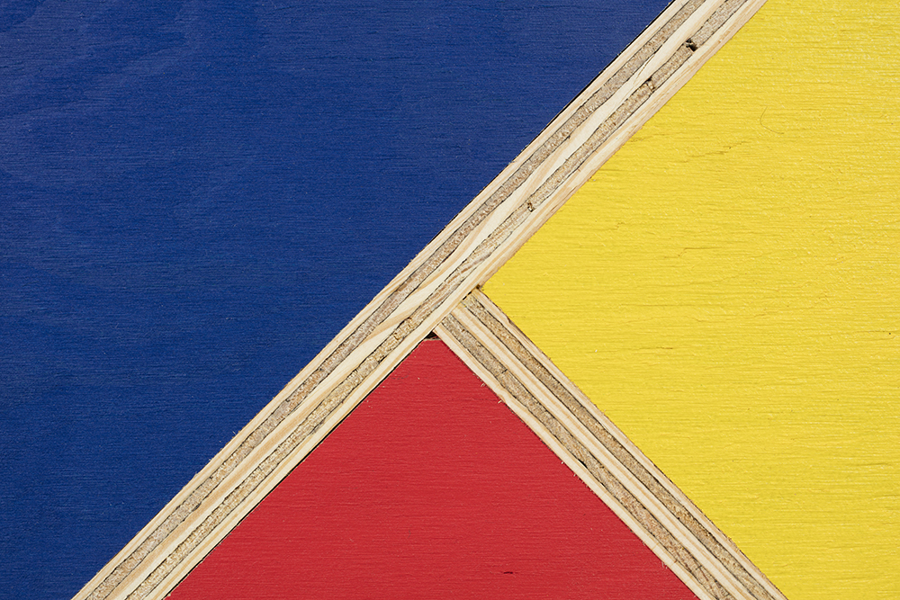 G.T. Pellizzi. <em>Transitional Geometry in Red, Yellow and Blue (Figure 34)</em>, 2016. Eggshell acrylic on plywood, 60 x 32 x 4 inches. Detail