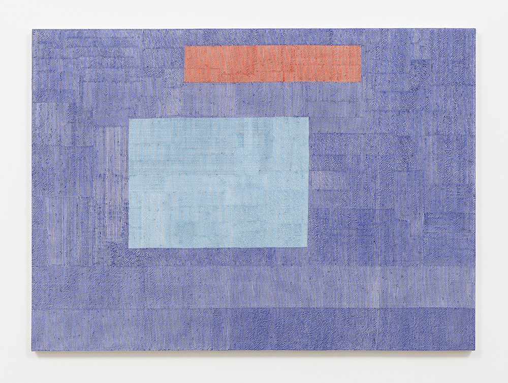 Rafaël Rozendaal. <em>Abstract Browsing 140901 (NY Times.com)</em>, 2014. Embroidery, 35 1/2 x 47 inches