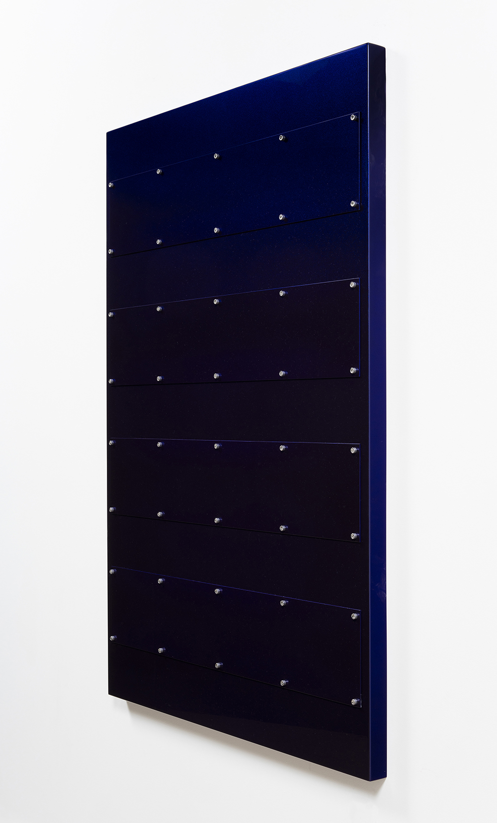 Joshua Saunders. <em>Purple Stack 1</em>, 2017. Enamel on aluminum, stainless steel, 60 x 40 x 1 1/2 inches