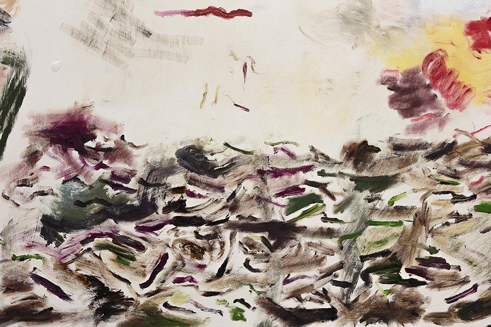 Joaquín Boz. <em>Untitled</em>, 2017. Oil on panel, 120 x 240 inches. Detail