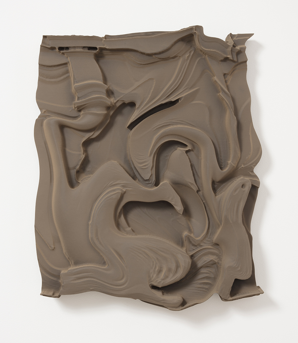 Michael Staniak. <em>OBJ_391</em>, 2017. Polyurethane resin, bronze powder and acrylic, 24 x 20 x 4 inches