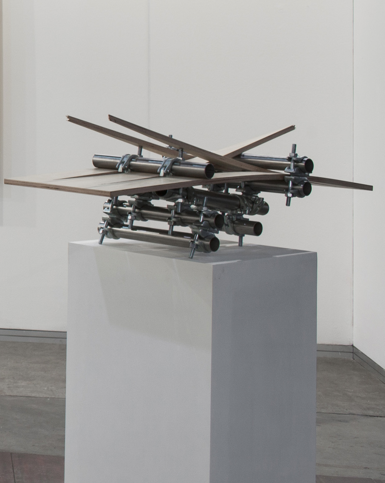 Luciana Lamothe. <em>Untitled</em>, 2017. Plywood, iron pipes and couplers, 15 3/4 x 47 x 19 1/2 inches (40 x 119.4 x 49.5 cm)