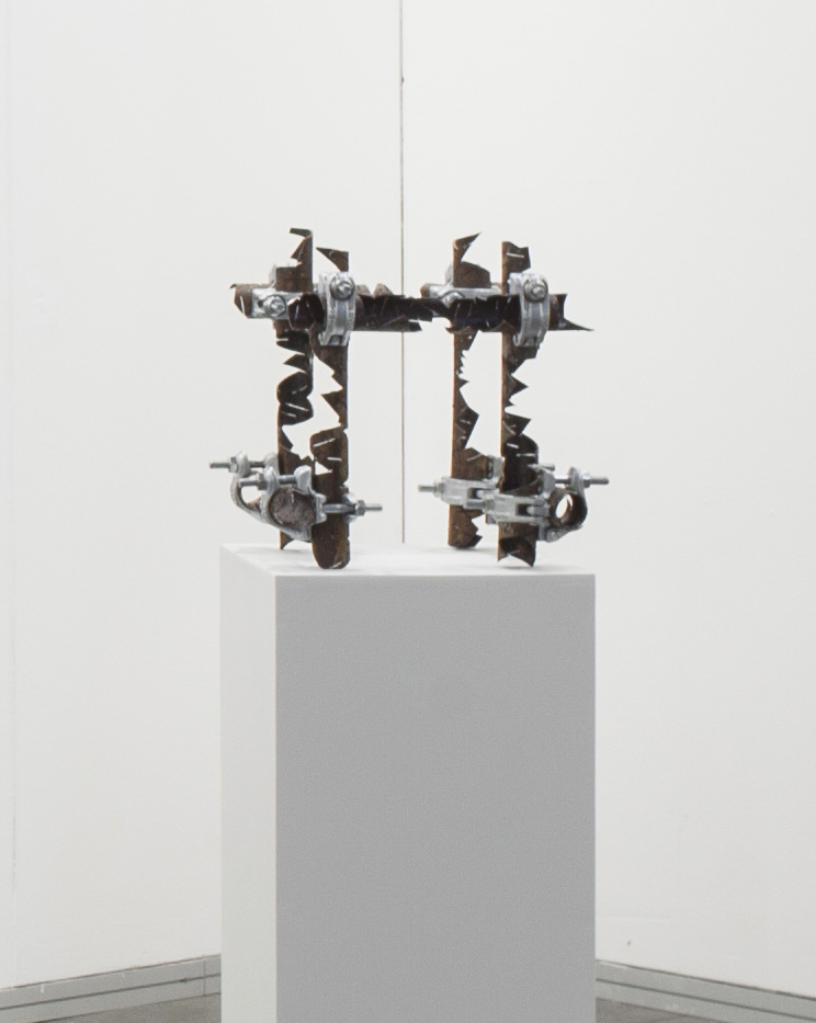 Luciana Lamothe. <em>Untitled</em>, 2017. Iron pipes and couplers, 16 x 16 x 18 inches (40.6 x 40.6 x 45.7 cm)