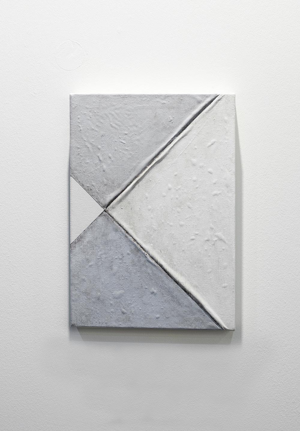Pablo Rasgado. <em>Arquitectura desdoblada (esquina)</em>, 2017.  Acrylic and dirt on canvas, 20 x 14 inches (50.8 x 35.6 cm)