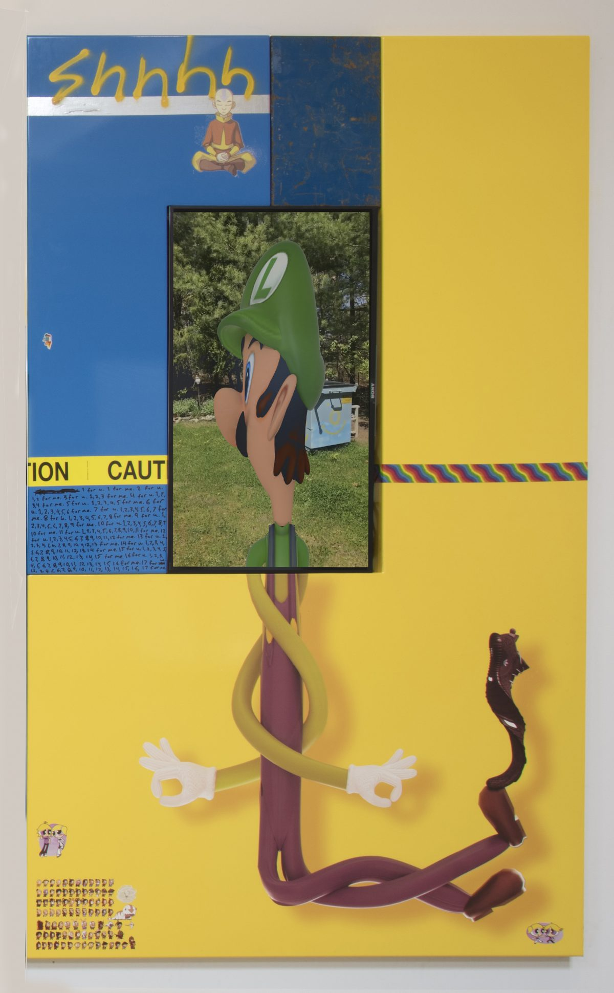 Yung Jake. <em>luigi (with ang and bubble and boomer)</em>, 2017. UV print, spray paint, stickers, tape and ink on powder coated steel, found metal and monitor, 96 x 60 inches