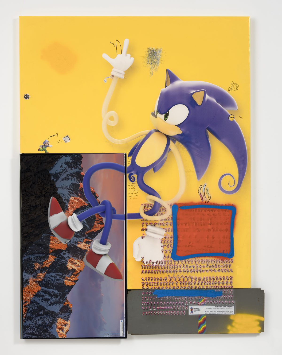 Yung Jake. <em>sonic (and amy rose and spike mario)</em>, 2017. UV print, spray paint, stickers, tape and ink on powder coated steel, found metal and monitor, 84 x 63 3/4 inches