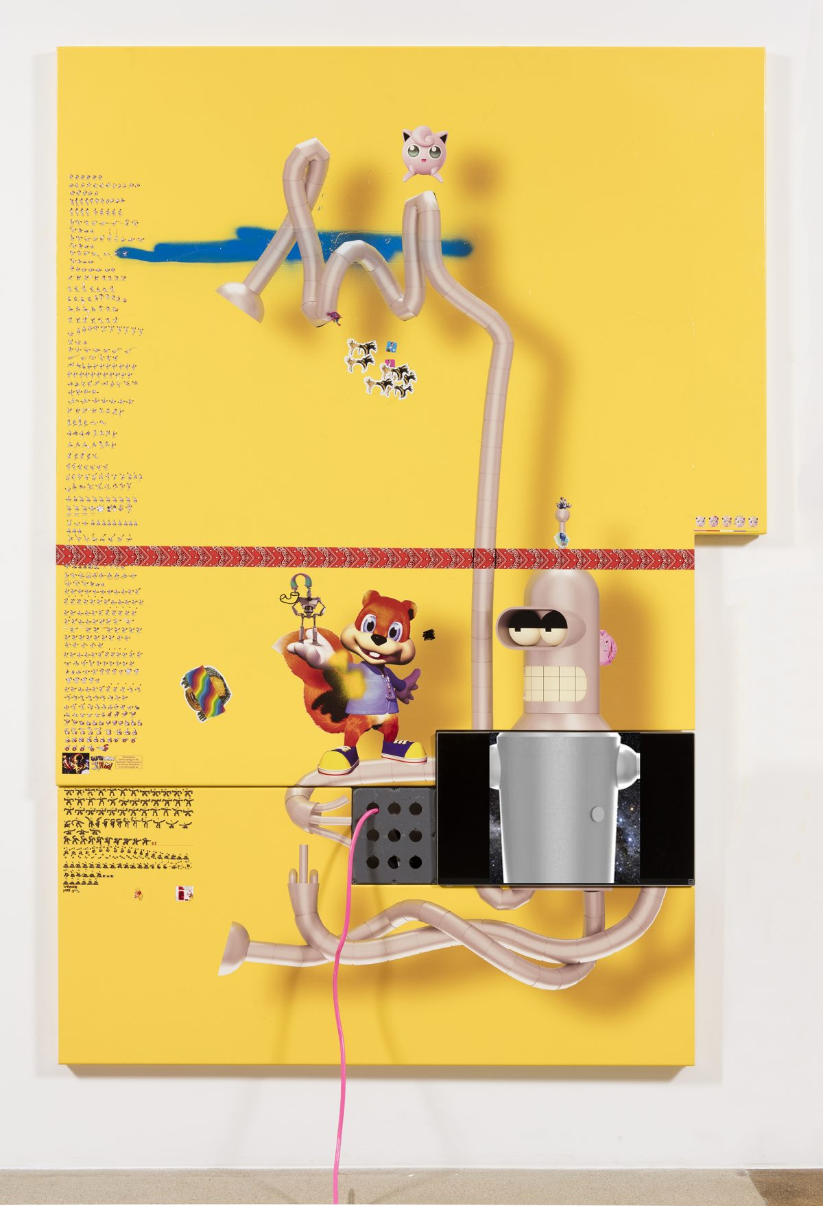 Yung Jake. <em>bender (w conker, iron giant and jiggly puff and earthworm jim)</em>, 2017. UV print, spray paint, stickers, tape and ink on powder coated steel, found metal and monitor, 96 x 67 inches