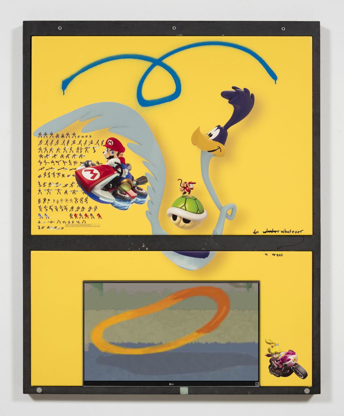 Yung Jake. <em>roadrunner (w mario, princess peach, diddy kong and wolverine)</em>, 2017. UV print, spray paint, tape and ink on powder coated steel, found metal and monitor, 51 x 40 1/2 inches