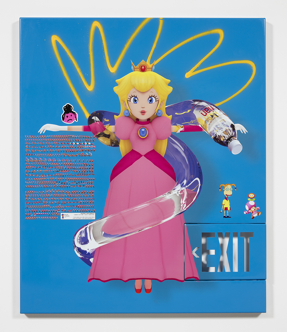 Yung Jake. <em>princess peach (w eliza and toadette and amy rose)</em>, 2017. UV print, spray paint and stickers on powder coated steel and found metal, 45 x 37 1/2 inches