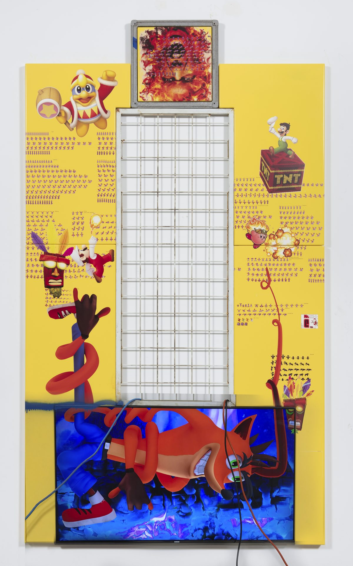 Yung Jake. <em>crash bandicoot (and spyro fire mario, fire luigi, fire kirby, king dedede and aku aku)</em>, 2017. UV print, spray paint, tape and ink on powder coated steel, found metal and monitor; video, 105 x 60 inches