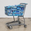 Adriana Martinez. <em>CMYK</em>, 2017. Metal shopping carts, plastic, spray paint and packed groceries, 41 x 25 x 32 inches (104.1 x 63.5 x 81.3 cm) thumbnail