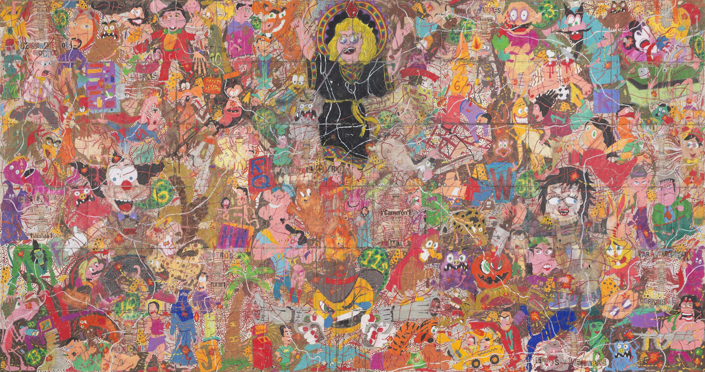 Camilo Restrepo. <em>A Land Reform 15</em>, 2017. Ink, water-soluble wax pastel, tape, stickers, newspaper clippings, glue and saliva on paper, 45 3/4 x 94 inches (116.3 x 238.8 cm)