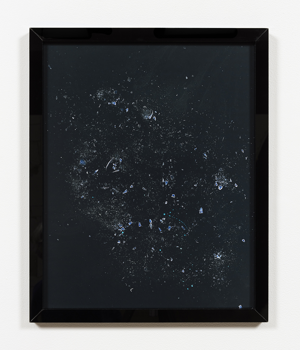 Kelly Kleinschrodt. <em>restkonstellation I</em>, 2017. Photogram in artist frame, 20 x 16 inches (50.8 x 40.6 cm)