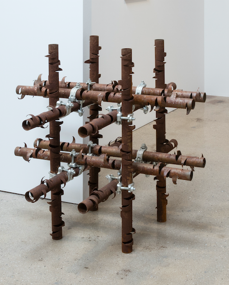 Luciana Lamothe. <em>Untitled</em>, 2017. Iron pipes and couplers, 32 x 32 x 32 inches (81.3 x 81.3 x 81.3 cm)