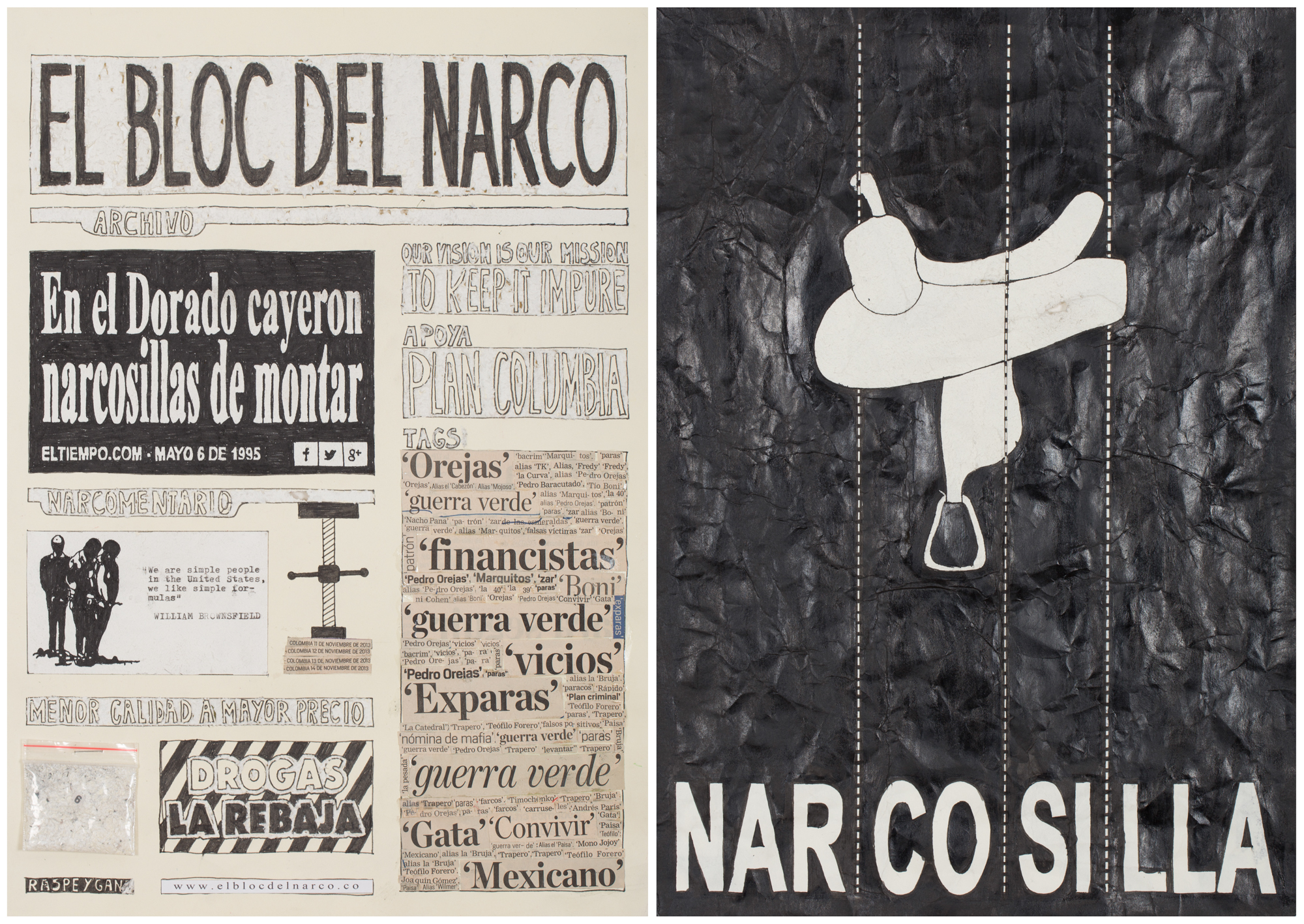 Camilo Restrepo. <em>El Bloc Del Narco #6 </em>, 2016. Ink, water-soluble wax pastel, tape, glue, newspaper clippings, staples, plastic bag, paper dust and saliva on paper, 16 1/2 x 24 inches (41.9 x 61 cm)