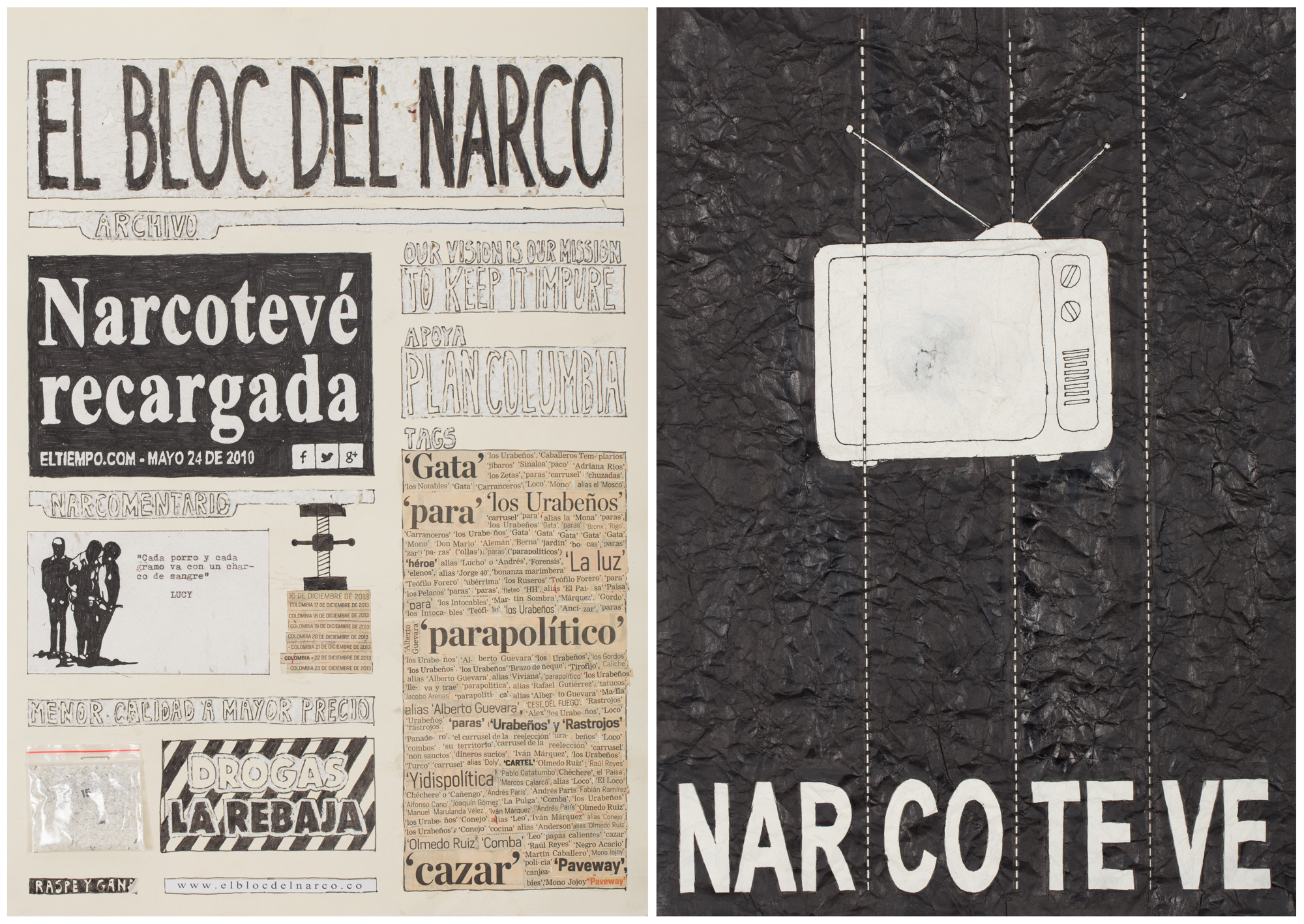 Camilo Restrepo. <em>El Bloc Del Narco #15</em>, 2016. Ink, water-soluble wax pastel, tape, glue, newspaper clippings, staples, plastic bag, paper dust and saliva on paper, 16 1/2 x 24 inches (41.9 x 61 cm)