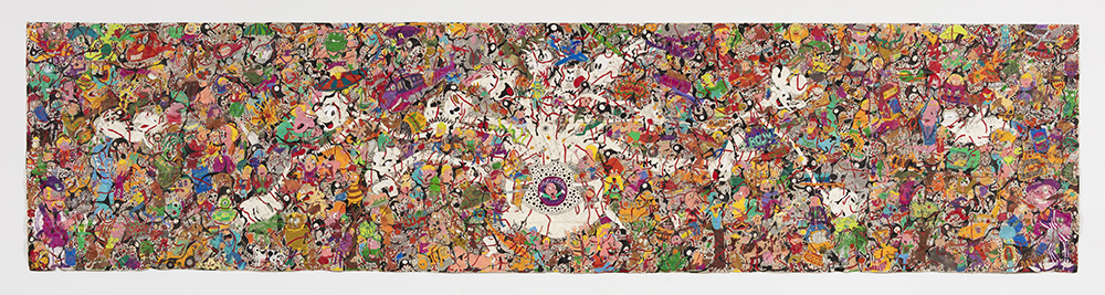 Camilo Restrepo. <em>Mera Calentura 2</em>, 2017. Ink, water-soluble wax pastel, tape, newspaper clippings, glue, stickers and saliva on paper, 58 x 248 inches (147.3 x 629.9 cm)
