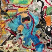 Camilo Restrepo. <em>Mera Calentura 2</em>, 2017. Ink, water-soluble wax pastel, tape, newspaper clippings, glue, stickers and saliva on paper, 58 x 248 inches (147.3 x 629.9 cm) Detail thumbnail
