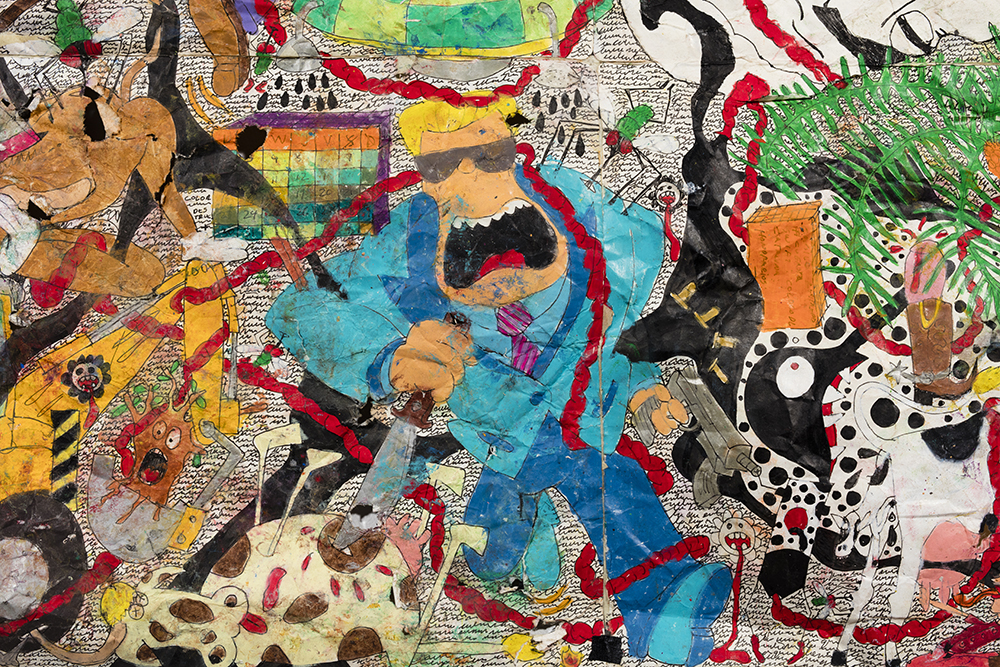 Camilo Restrepo. <em>Mera Calentura 2</em>, 2017. Ink, water-soluble wax pastel, tape, newspaper clippings, glue, stickers and saliva on paper, 58 x 248 inches (147.3 x 629.9 cm) Detail