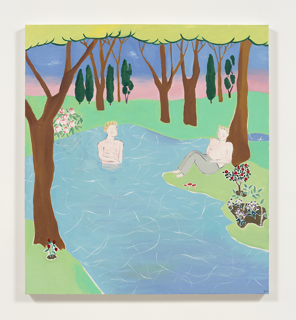 Claire Milbrath. <em>Pond</em>, 2017. Oil on canvas, 40 x 36 inches (101.6 x 91.4 cm)