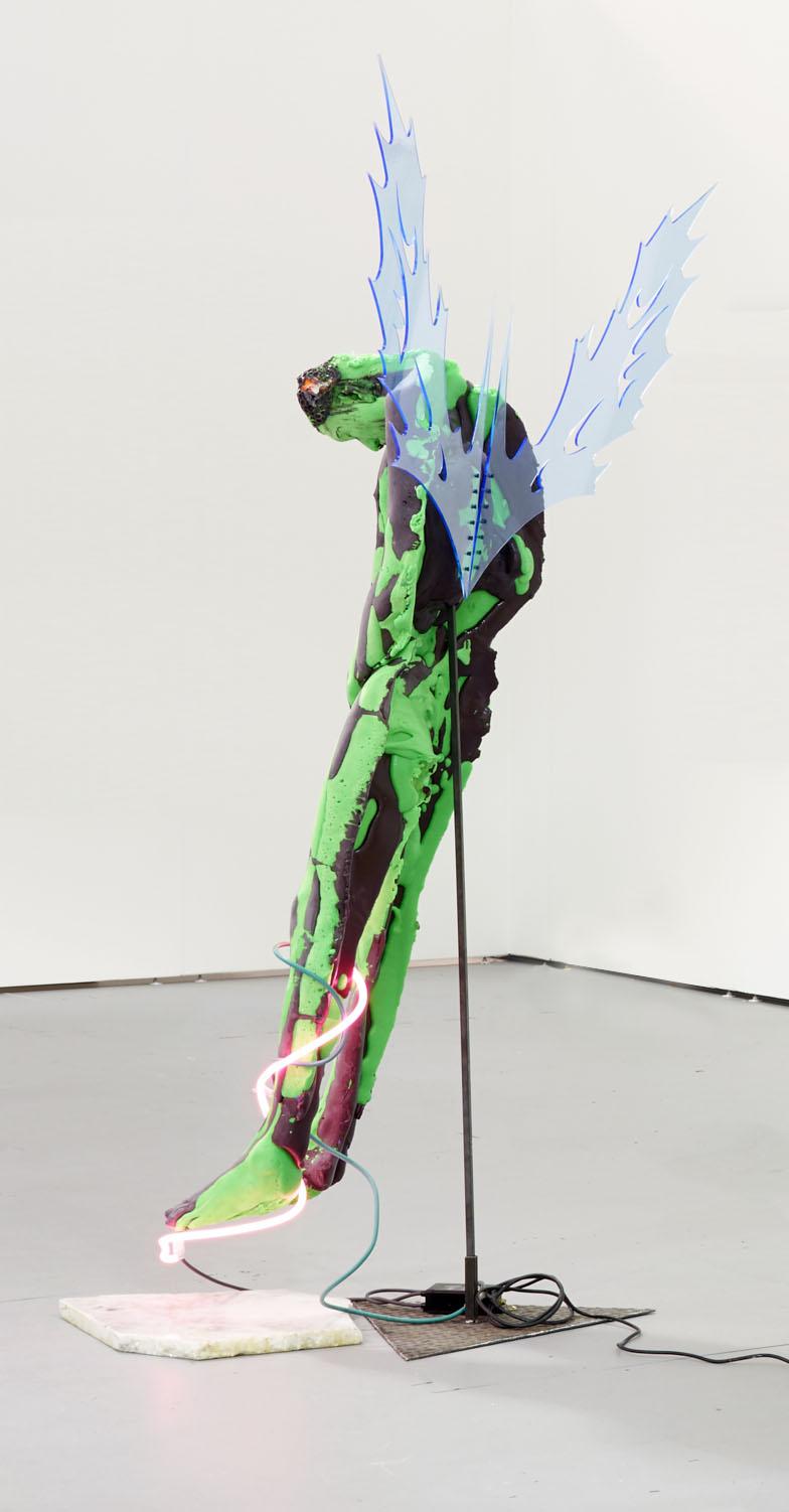 Nicanor Araoz. <em>Untitled</em>, 2017. Neon, marble, acrylic, polyurethane foam and metal, 85 x 65 x 45 inches (215.9 x 165.1 x 114.3 cm)