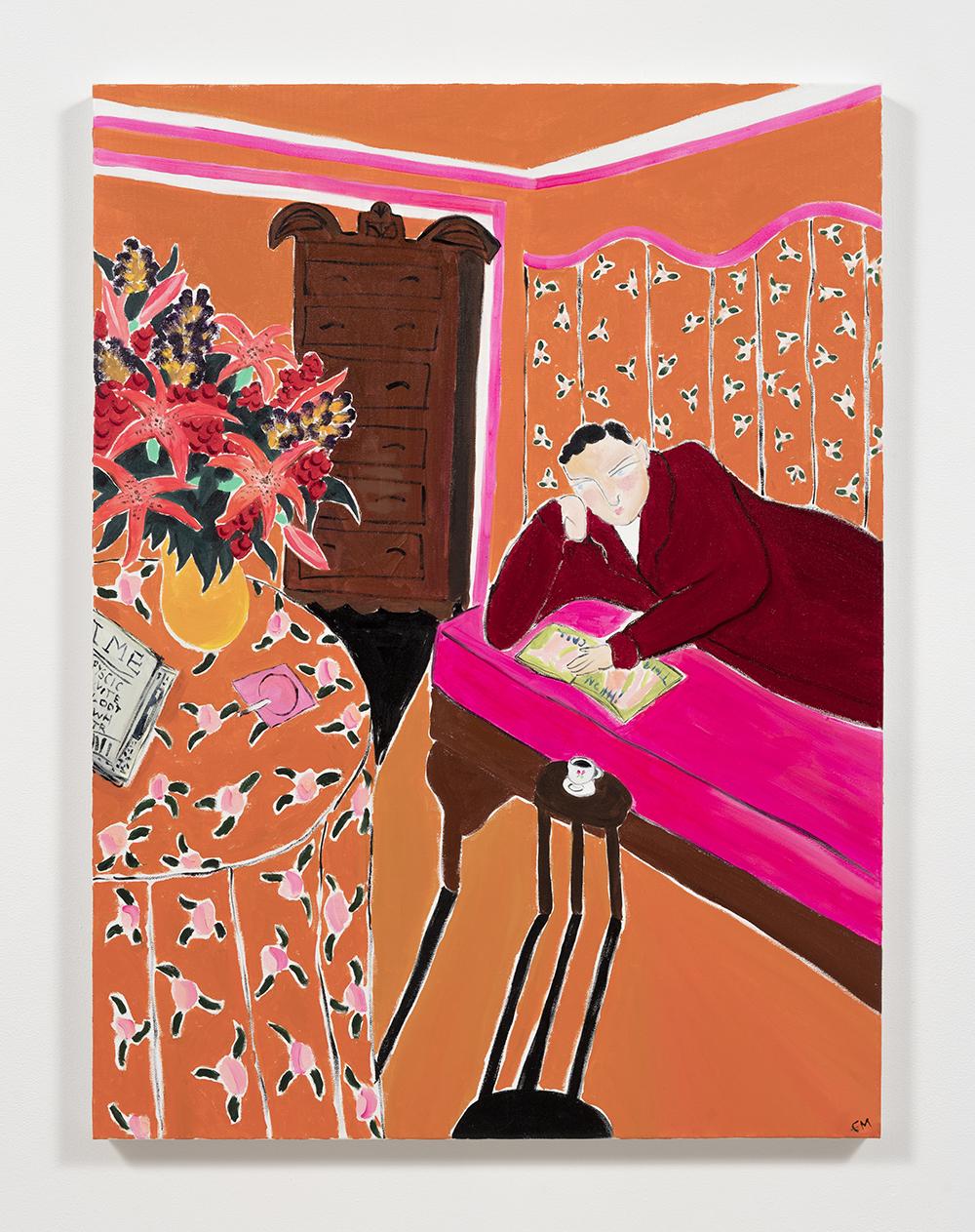 Claire Milbrath. <em>Orange Room</em>, 2017. Oil on canvas, 40 x 30 inches  (101.6 x 76.2 cm)