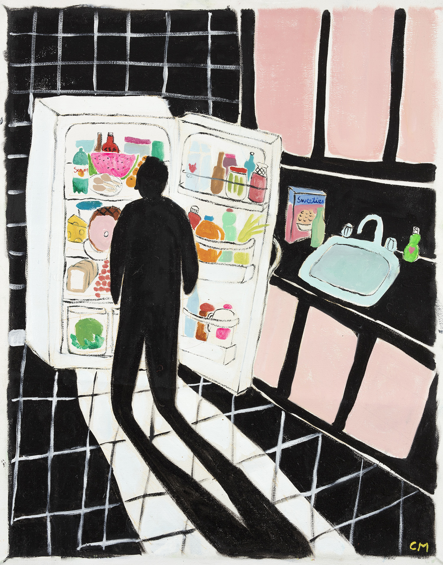 Claire Milbrath. Black Kitchen, 2018. Oil on canvas. 18 x 14 inches (45.7 x 35.6 cm)