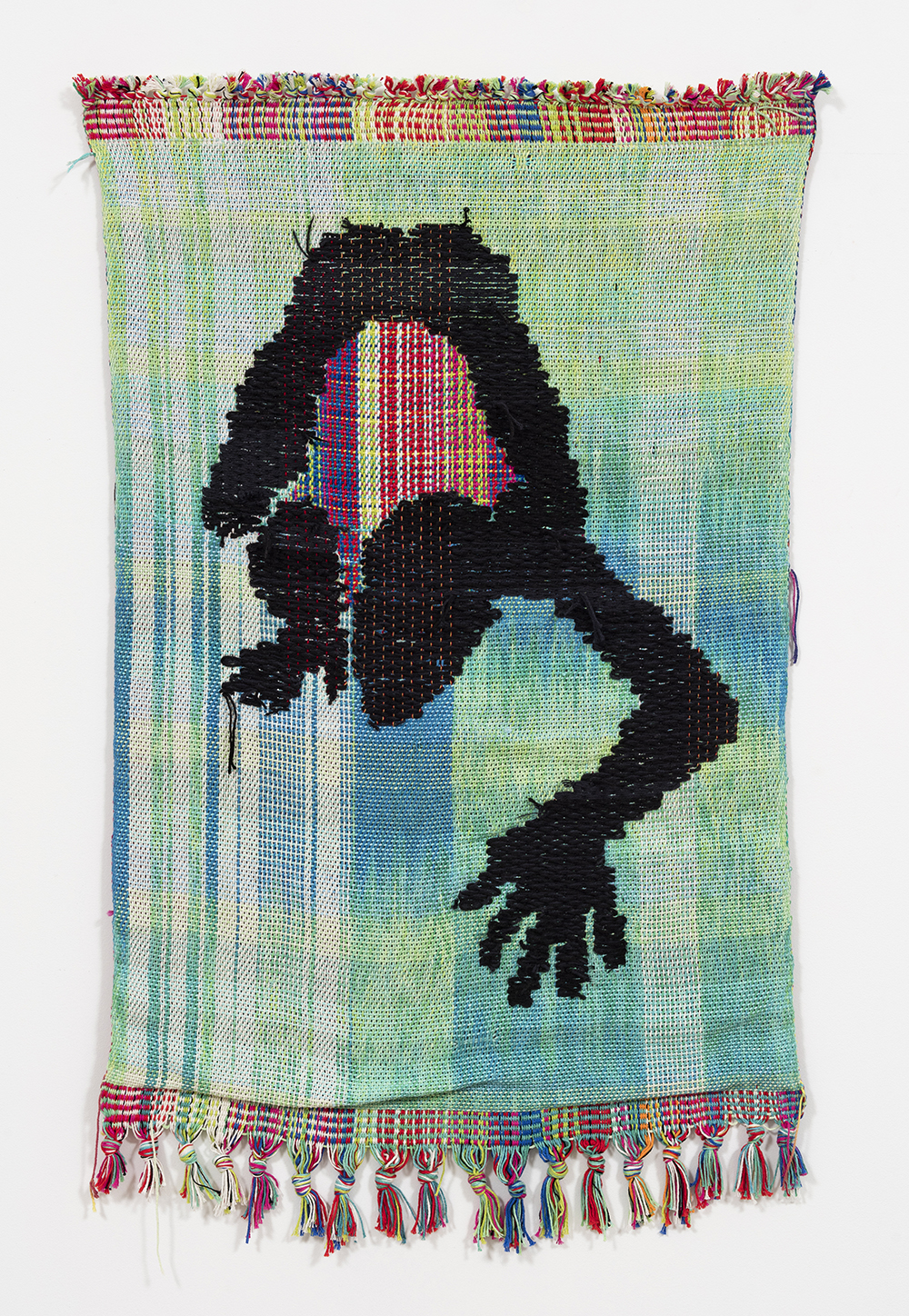 Diedrick Brackens. <em>In the Valley</em>, 2017. Cotton and acrylic yarn, 52 x 32 inches (132.1 x 81.3 cm).