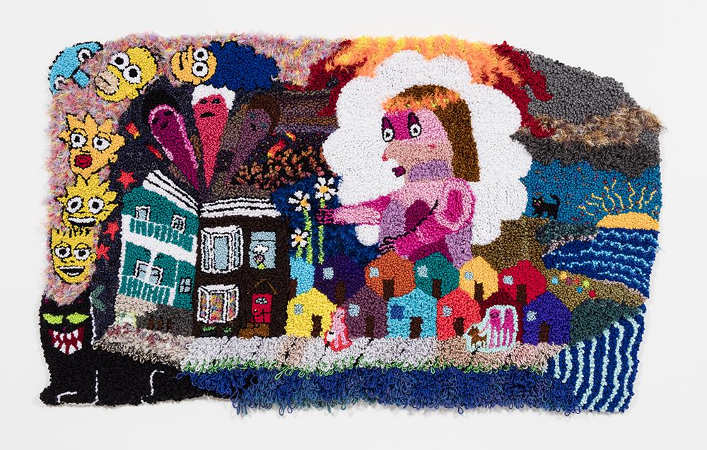 Hannah Epstein. <i>East Coast Dream Girl</i>, 2018. Wool, acrylic, cotton, polyester, and burlap, 45 x 71 inches  (114.3 x 180.3 cm)
