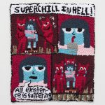 Hannah Epstein, Superchill In Hell: Existence Is Suffering, 2020 Wool, acrylic, cotton and burlap 29 x 25 inches (73.7 x 63.5 cm)