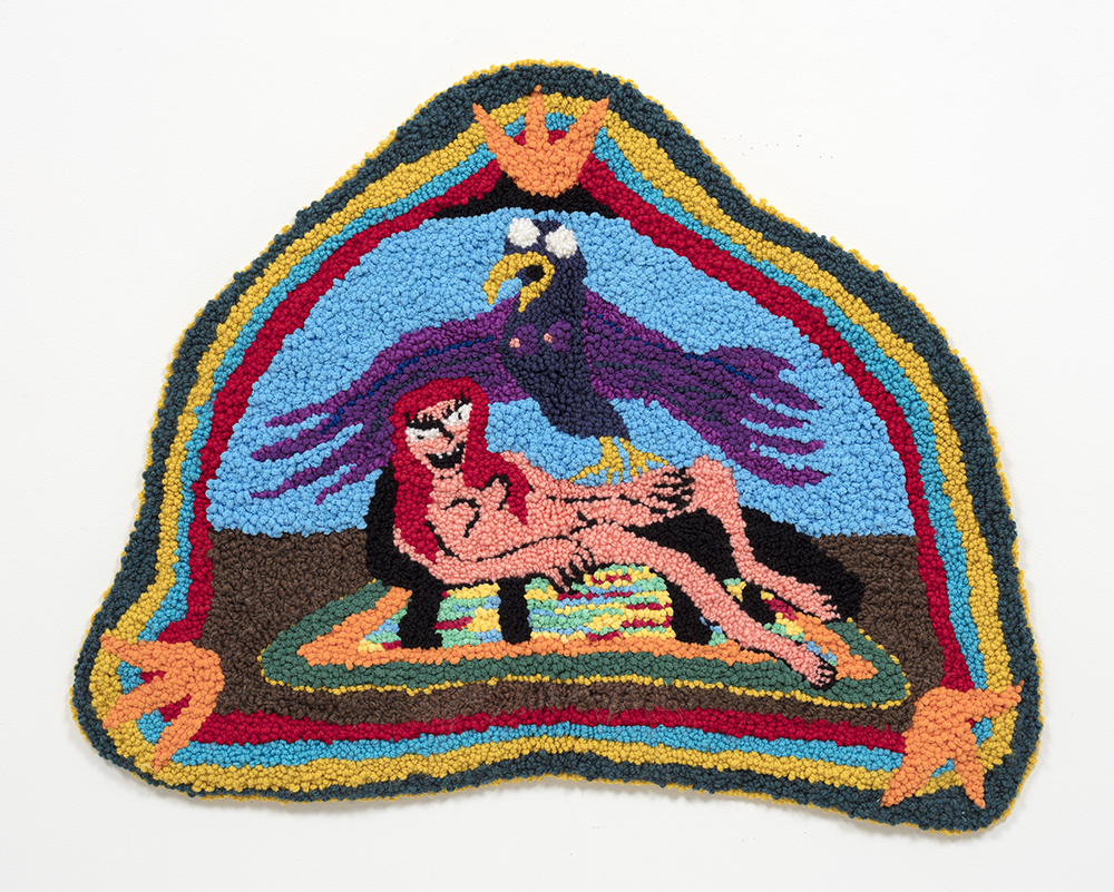 Hannah Epstein. Ego & Intuition, 2020. Wool, acrylic, cotton and burlap, 29 x 39 inches (73.7 x 99.1 cm)
