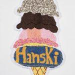 Hannah Epstein Hanski, Ice Cream, 2020 Wool, acrylic, cotton and burlap 54 1/2 x 31 inches (138.4 x 78.7 cm)