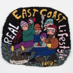 Hannah Epstein, Real East Coast Lifestyle, 2020 Wool, acrylic, cotton and burlap 32 x 37 1/2 inches (81.3 x 95.3 cm)
