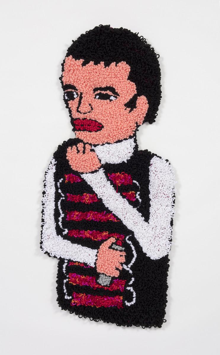 Hannah Epstein, Anna Deciding When to Detonate the Vest, 2020 Acrylic, cotton and burlap 39 x 17 inches (99.1 x 43.2 cm)