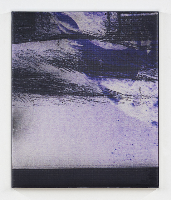 Manor Grunewald. <em>Untitled (Wormhole_11)</em>, 2018. UV print on polyester mesh fabric, oil, acrylic and spray paint on canvas, 23 5/8 x 19 5/8 inches (60 x 50 cm)
