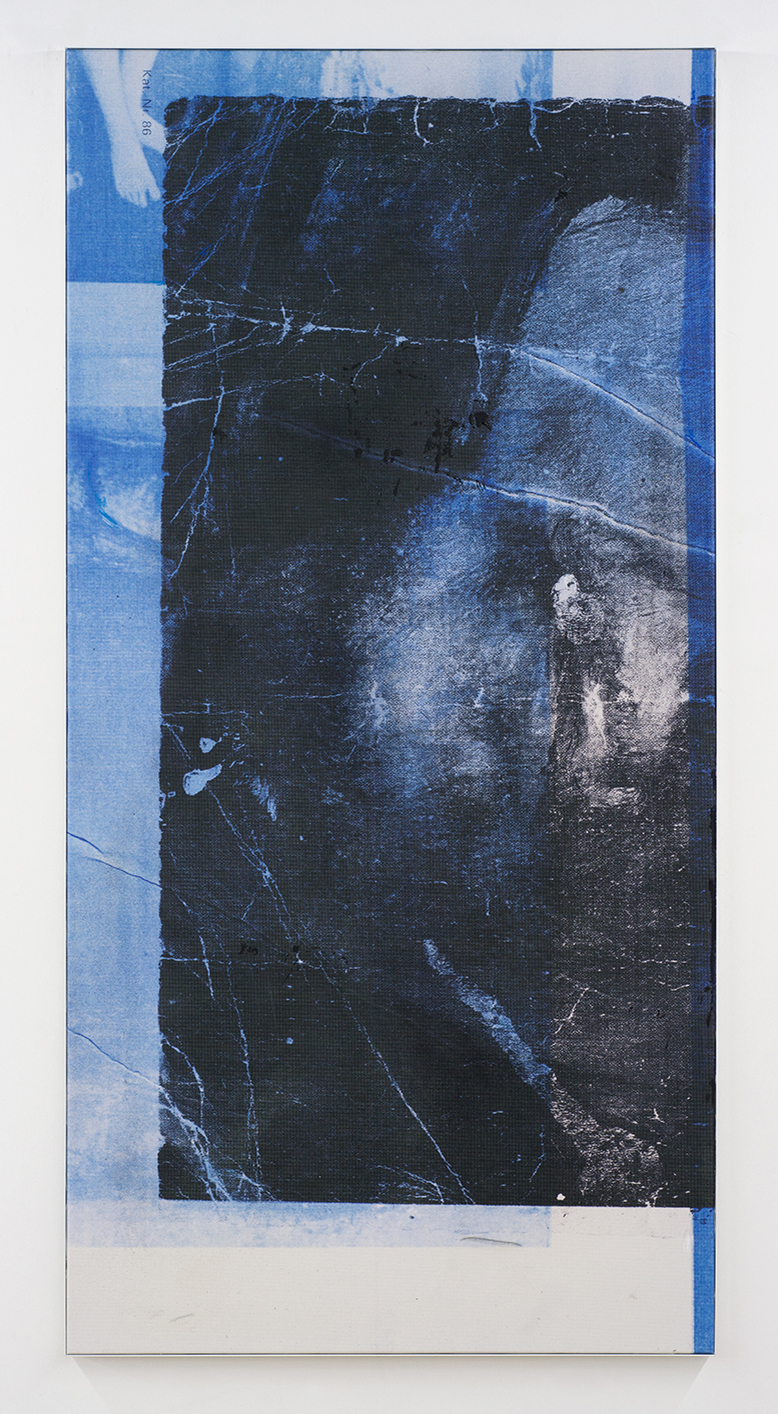 Manor Grunewald. <em>Untitled (Wormhole_05)</em>, 2018. UV print on polyester mesh fabric, oil, acrylic and spray paint on canvas, 78 3/4 x 39 3/8 inches (200 x 100 cm)
