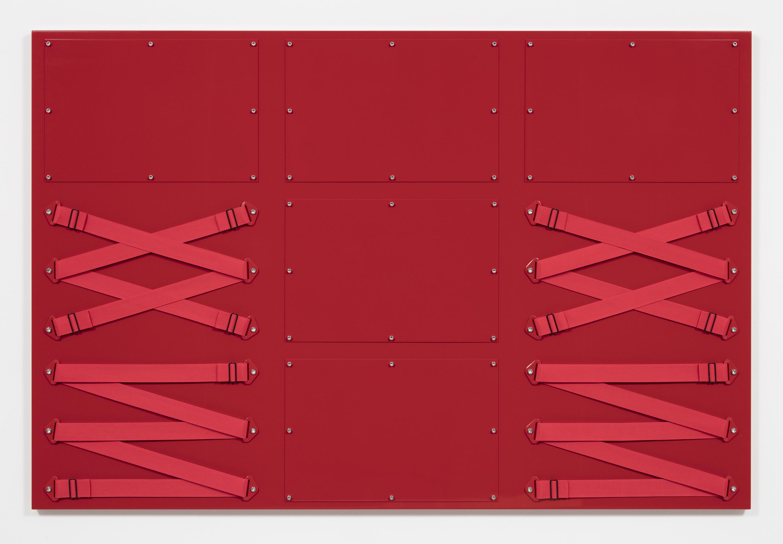 Joshua Saunders. <em>Nine Panel Red</em>, 2017. Urethane on aluminum, nylon straps and stainless steel, 54 x 81 inches (137.2 x 205.7 cm)