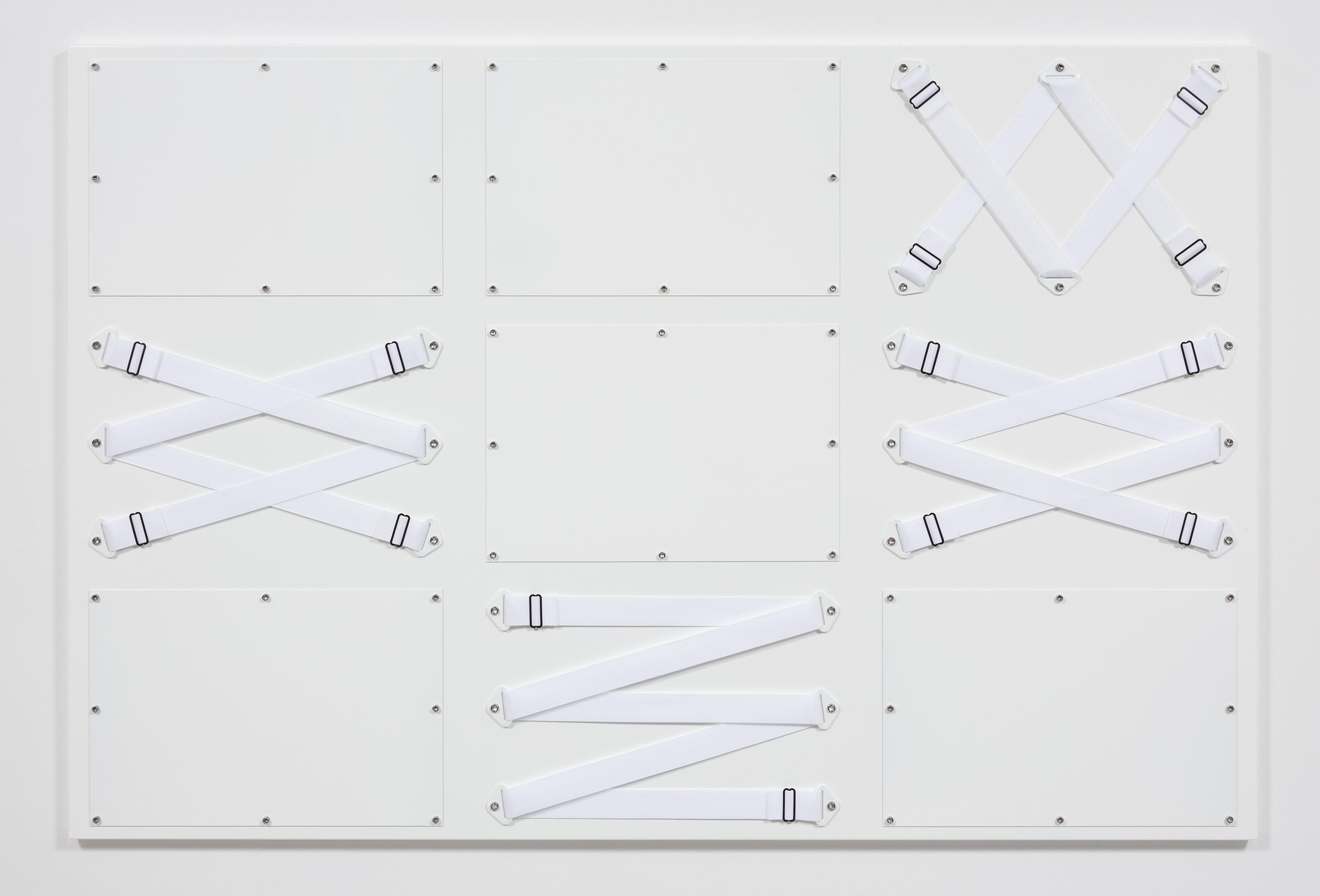 Joshua Saunders. <em>Nine Panel White</em>, 2017. Urethane on aluminum, nylon straps and stainless steel, 54 x 81 inches (137.2 x 205.7 cm)