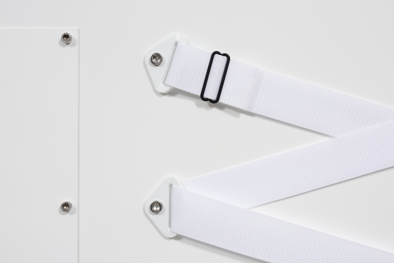 Joshua Saunders. <em>Nine Panel White</em>, 2017. Urethane on aluminum, nylon straps and stainless steel, 54 x 81 inches (137.2 x 205.7 cm) Detail