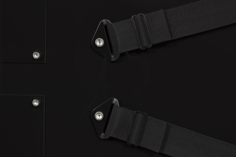 Joshua Saunders. <em>Nine Panel Black</em>, 2017. Urethane on aluminum, nylon straps and stainless steel, 54 x 81 inches (137.2 x 205.7 cm) Detail