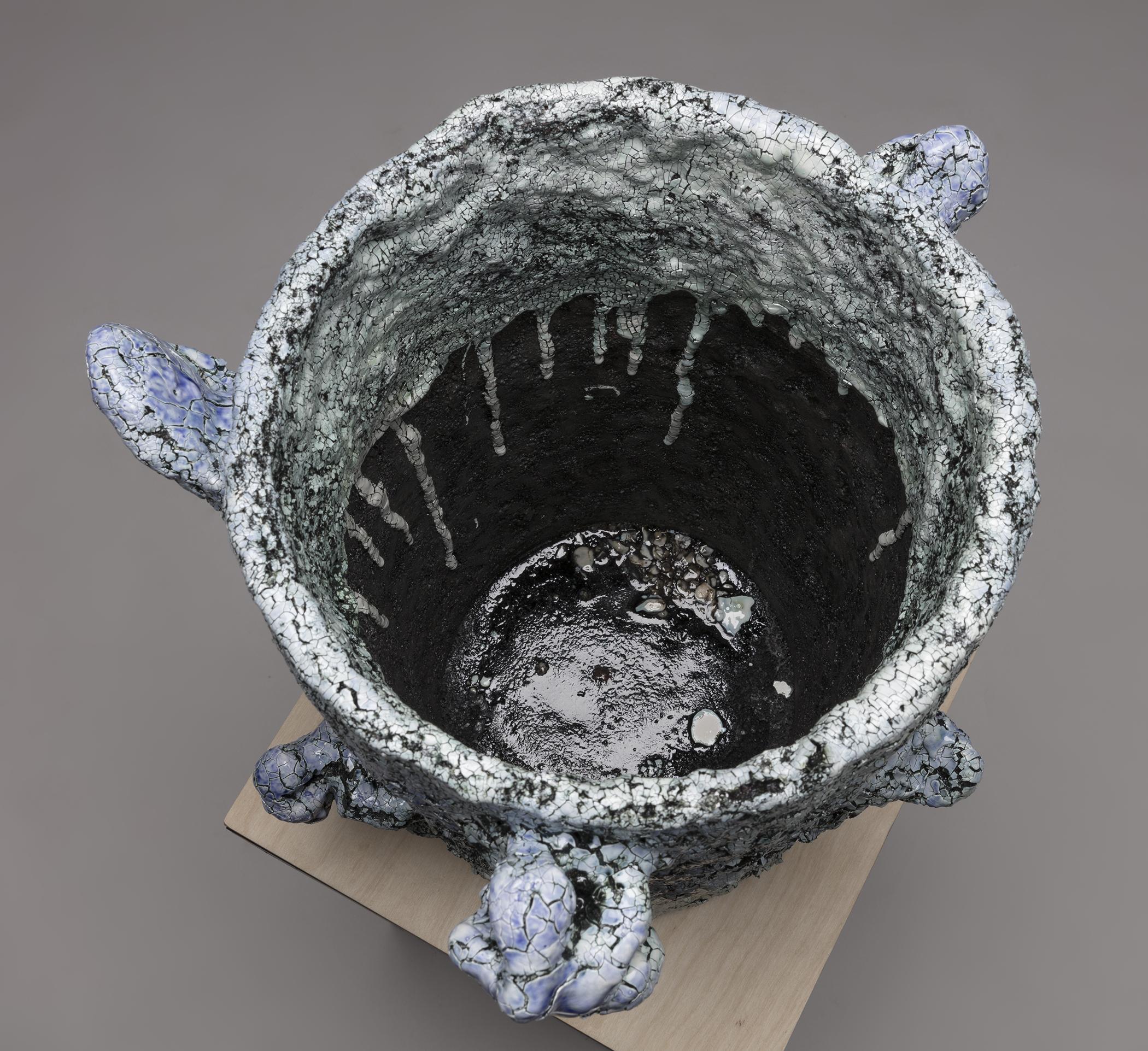 Tony Marsh. <em>Crucible Furiosa  2</em>, 2018. Ceramic, 19 x 16 x 16 inches (48.3 x 40.6 x 40.6 cm) Detail