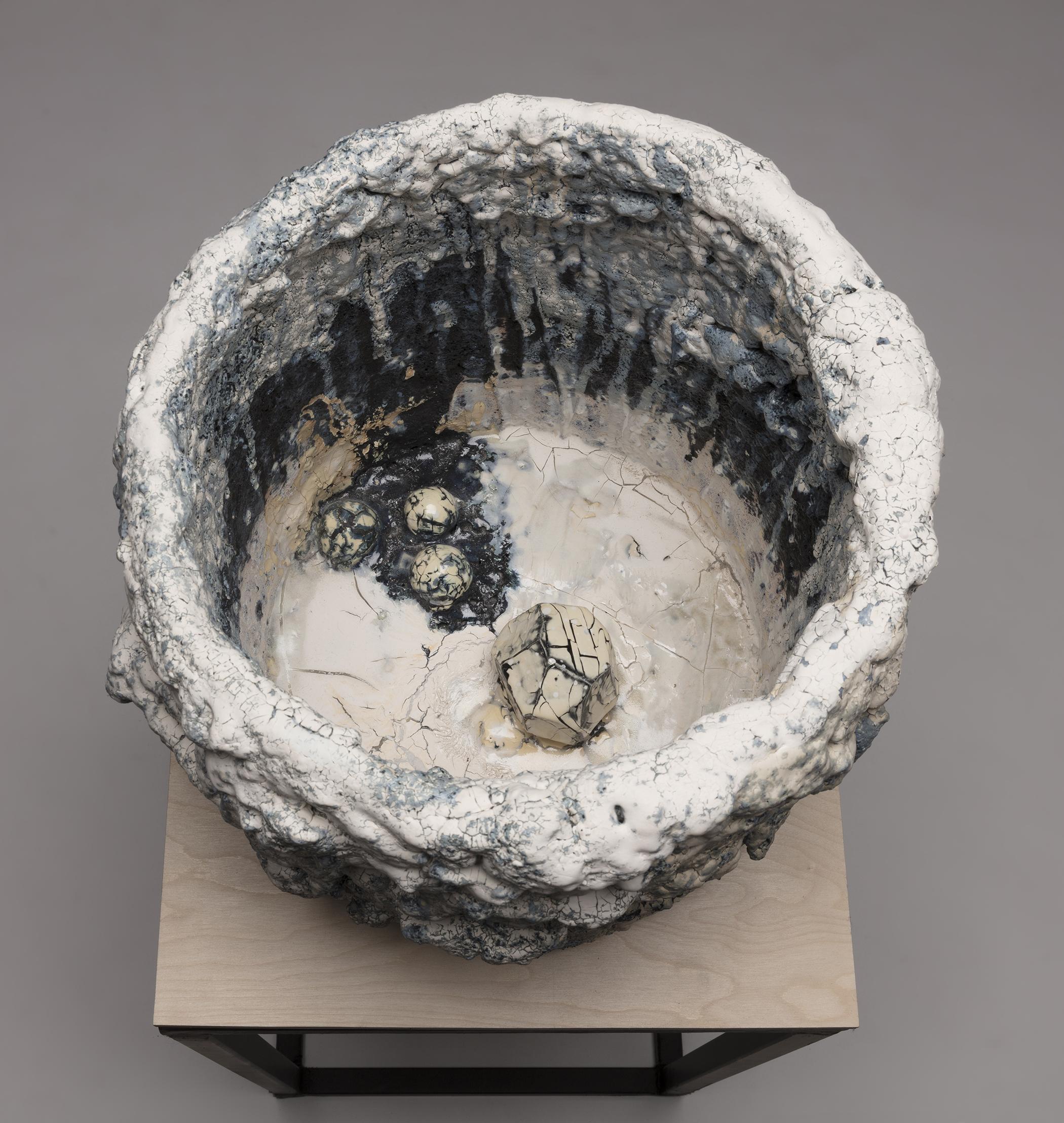 Tony Marsh. <em>Crucible Furiosa 1</em>, 2018. Ceramic, 14 x 17 x 17 inches (35.6 x 43.2 x 43.2 cm) Detail