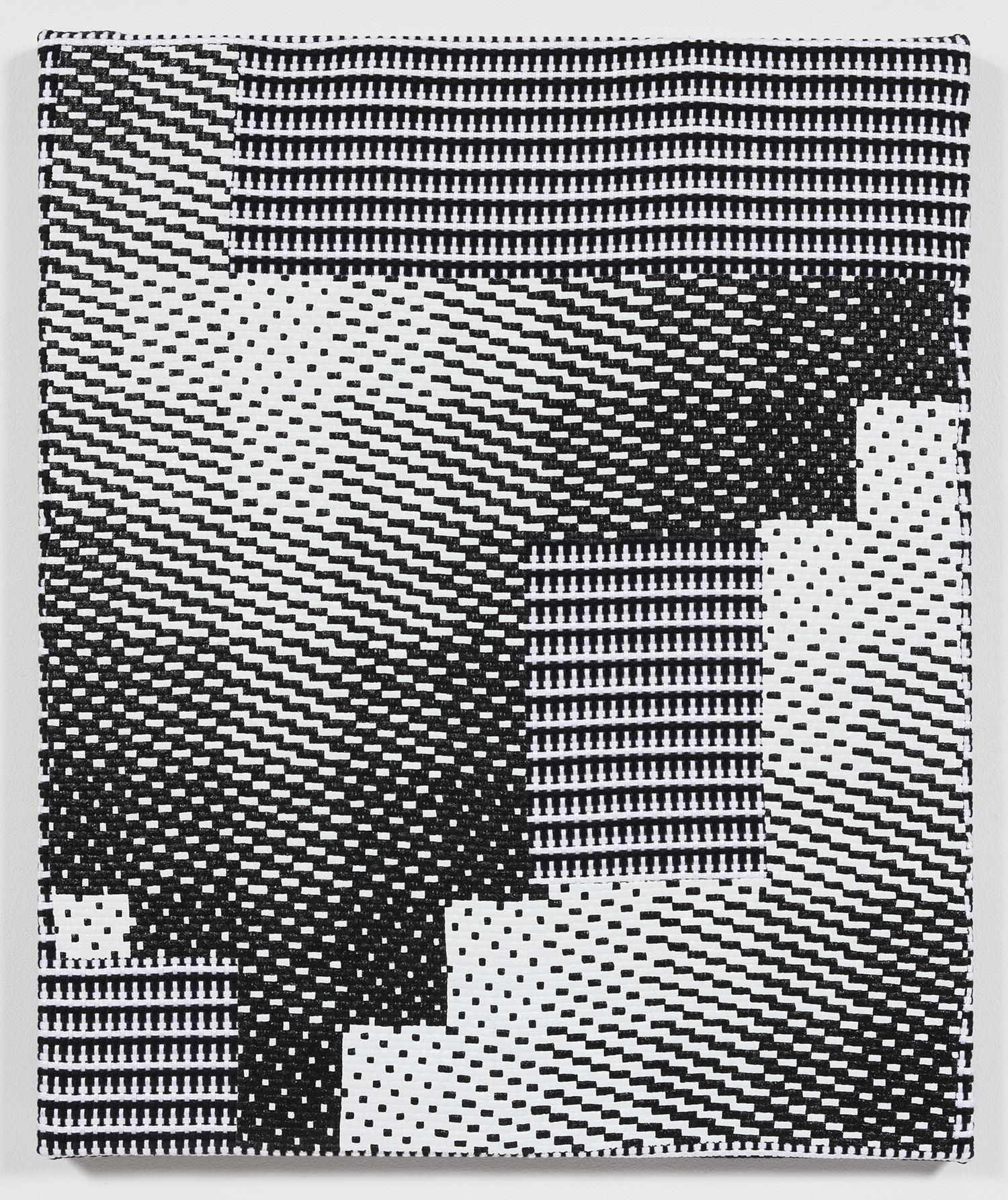 Samantha Bittman. <em>Untitled</em>, 2018. Acrylic on hand-woven textile, 24 x 20 inches (61 x 50.8 cm)