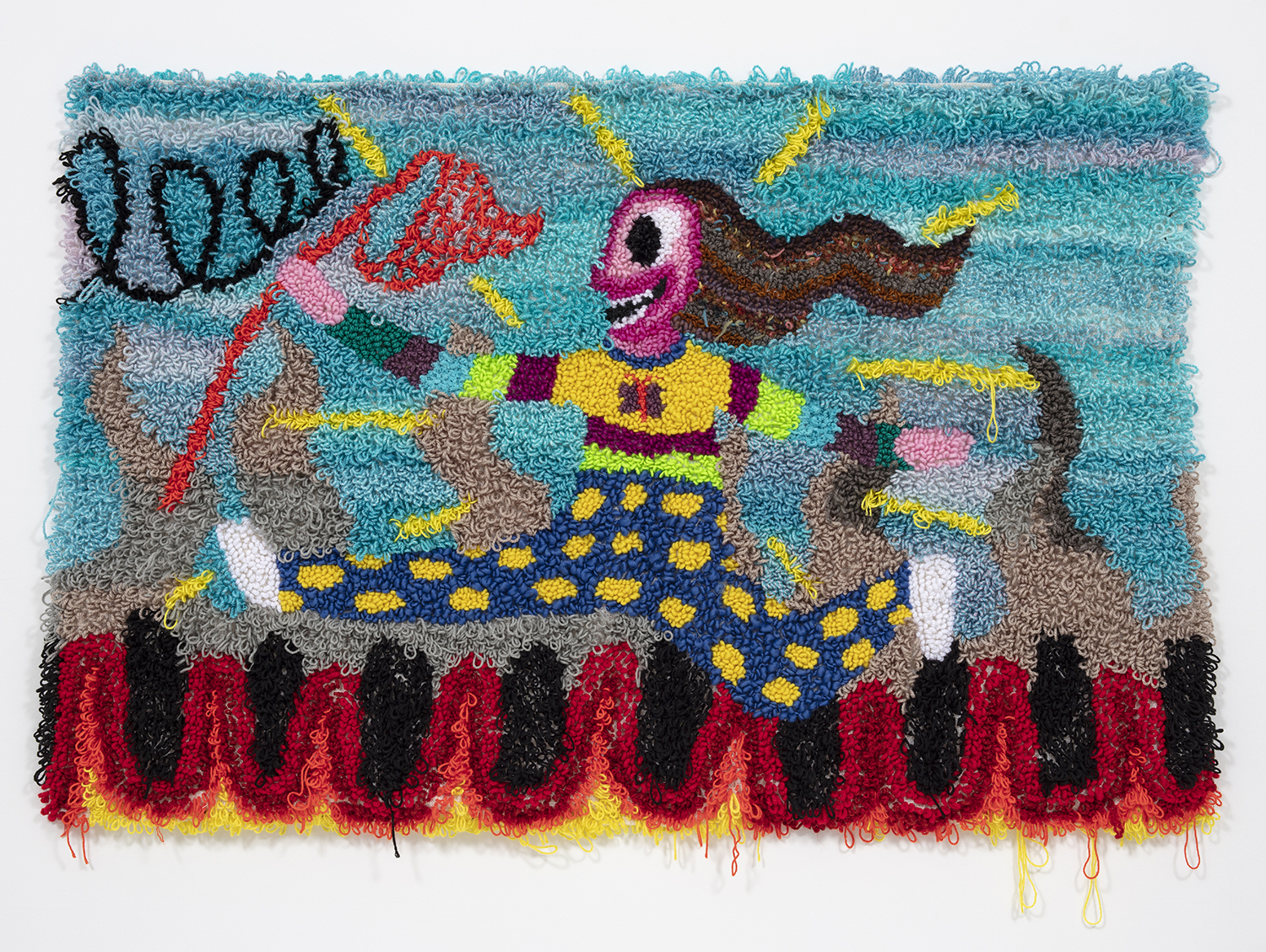 Hannah Epstein. <em> Running Through Hell With a Butterfly Net</em>, 2018. Wool, acrylic, polyester, cotton, burlap, 46 x 68 inches  (116.8 x 172.7 cm)