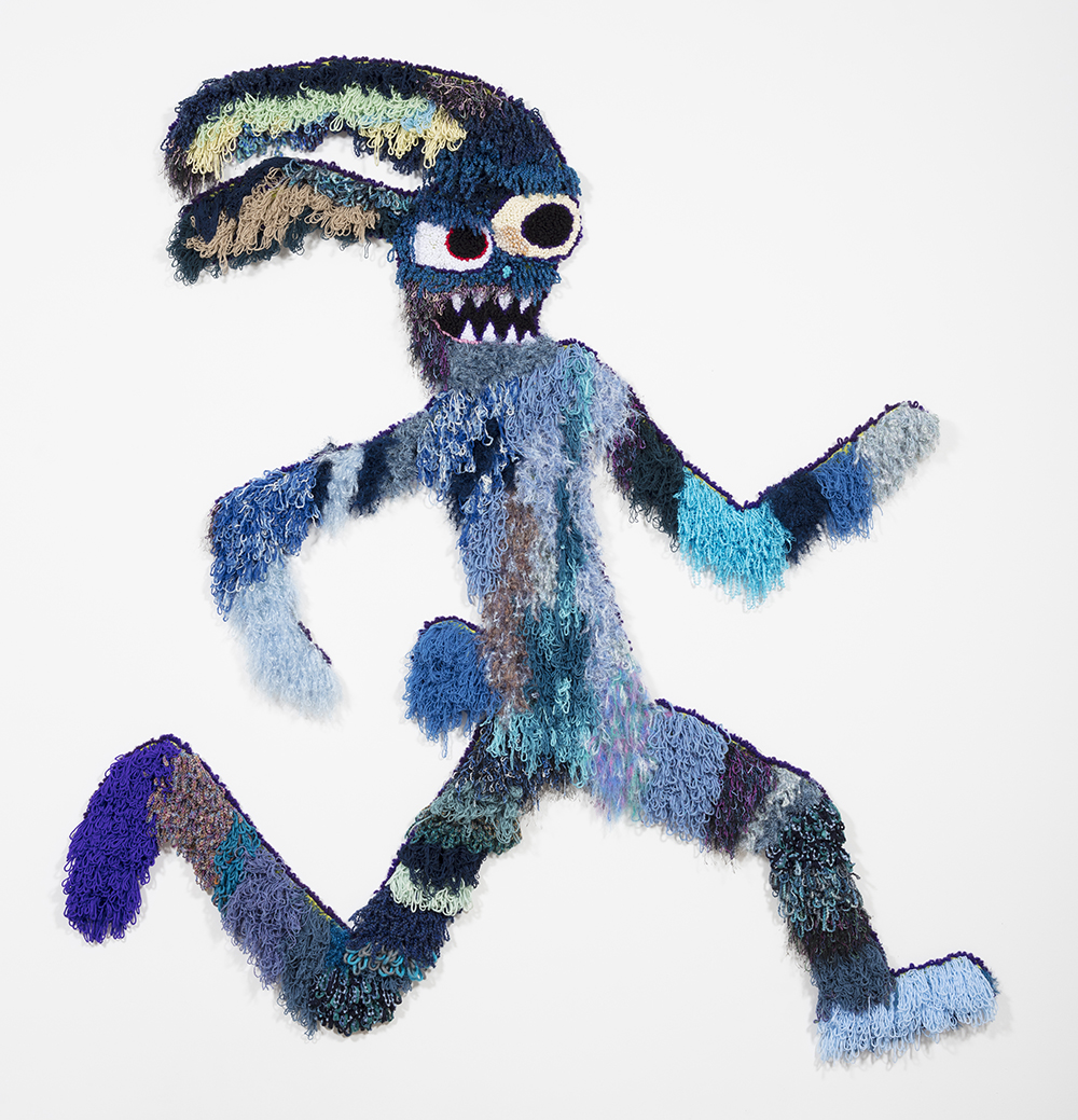 Hannah Epstein. <em> Big Blue Bunny</em>, 2018. Wool, acrylic, polyester and burlap, 97 x 95 inches  (246.4 x 241.3 cm)