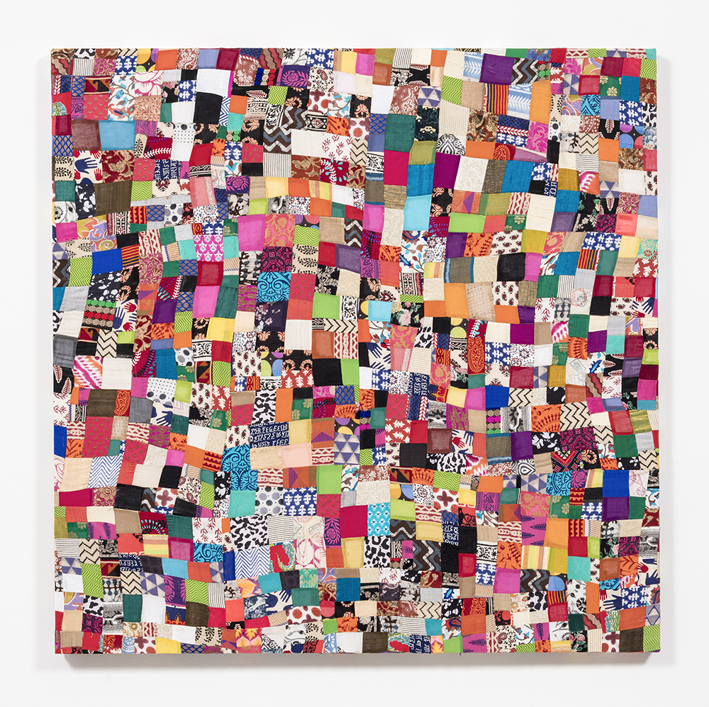 Ekta Aggarwal. <em>Metamorphosis</em>, 2018. Pieces of scrap fabric sewn together with hand-spun cotton, 48 x 48 inches  (121.9 x 121.9 cm)