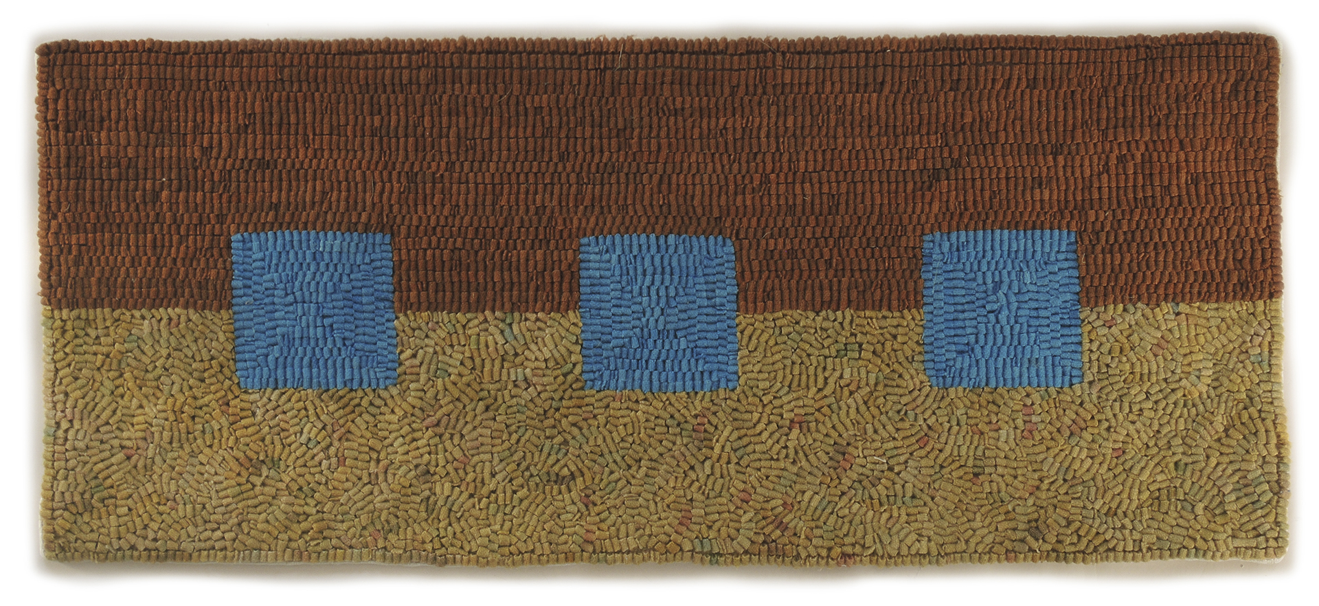 Altoon Sultan. <em>Blue Squares</em>, 2016. Hand-dyed wool on linen,  10 x 23 1/2 inches  (25.4 x 59.7 cm)