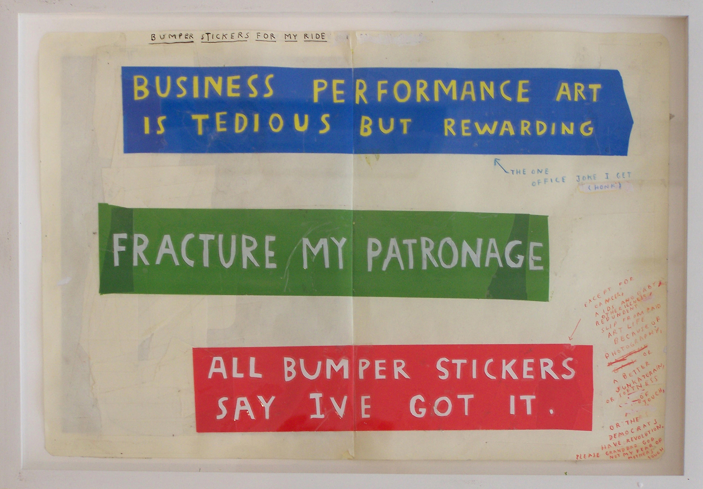 Simon Evans™. <em>Bumper Stickers</em>, 2008. Drawing and collage on notebook, 9 3/4 x 14 3/4 inches  (24.8 x 37.5 cm)